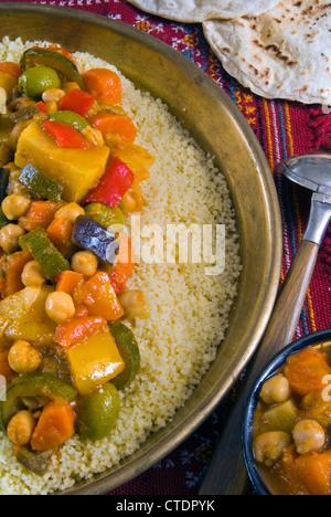 Seven vegetable couscous, Moroccan food, Moroccan cuisine, Morocco - Stock Photo