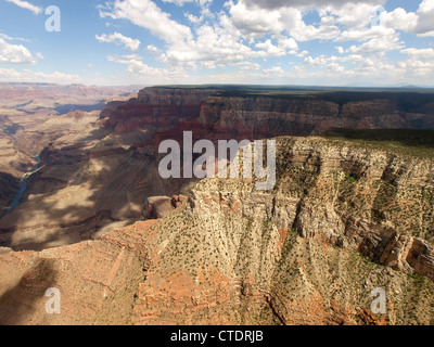 Sky view of Grand Canyon with the Colorado River flowing through the canyon, Arizona, United States. - Stock Photo