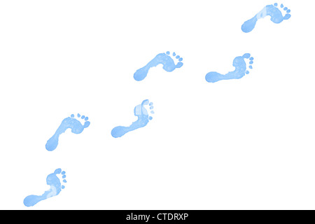 Six blue footprints - Stock Photo