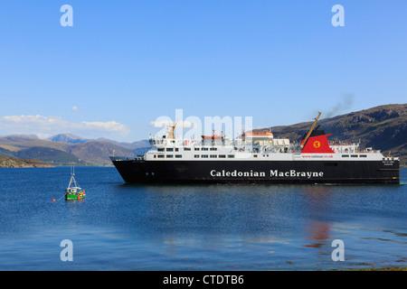 Caledonian MacBrayne Isle of Lewis ferry from Stornoway sailing up Loch Broom on Scottish northwest coast Ullapool - Stock Photo