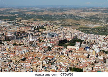 View over the city rooftops, Jaen, Jaen Province, Andalucia, Spain, Western Europe. - Stock Photo