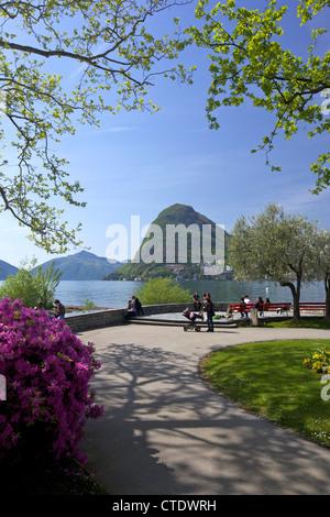 View of Monte San Salvador from Parco Civico, Lugano, Lake Lugano, Ticino, Switzerland, Europe - Stock Photo