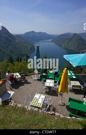 View of Monte San Salvador from Monte Bre, Lake Lugano, Lugano, Ticino, Switzerland, Europe - Stock Photo