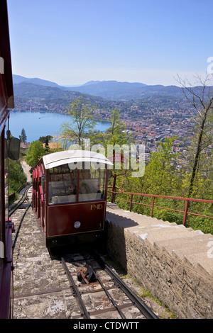 View of Monte Bre Funicular, Lake Lugano, Lugano, Ticino, Switzerland, Europe - Stock Photo