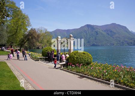 View of lake of Lugano from Parco Civico, Lugano, Lake Lugano, Ticino, Switzerland, Europe - Stock Photo