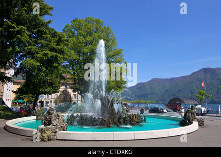 Fountain at Piazza Manzoni, city of Lugano, Lake Lugano, Ticino, Switzerland, Europe - Stock Photo