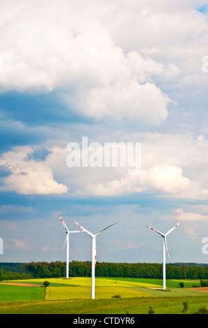 wind wheels in Germany - Stock Photo