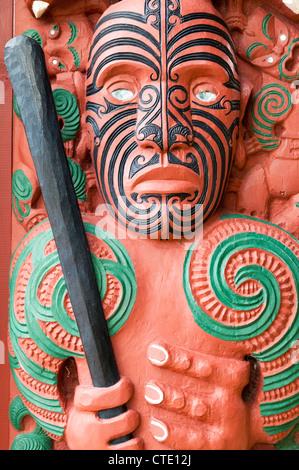 Maori carving, Waitangi, New Zealand - Stock Photo