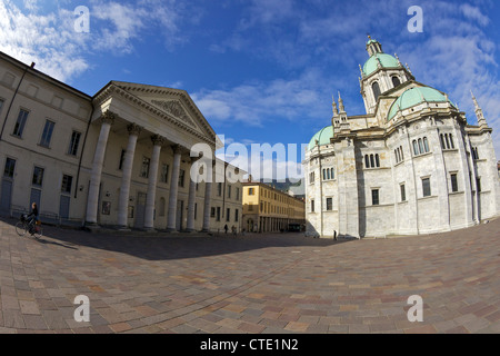 View of Cathedral in Como town centre, Lake Como, Italy, Europe - Stock Photo