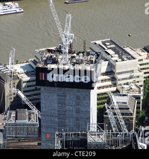 aerial view of the Shard  during early construction June 2010, London, UK - Stock Photo