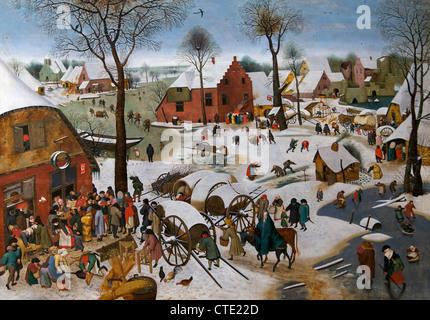 Census at Bethlehem, 1566 Pieter Bruegel the Elder, Musées Royaux des Beaux-Arts, Brussels, Belgium, Europe - Stock Photo