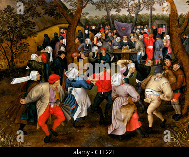 Peasant Wedding Dance, by Pieter Brueghel the Younger, 1607, Musees Royaux des Beaux-Arts, Brussels, Belgium, Europe - Stock Photo