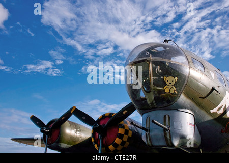 Sally B Flying Fortress Boeing B17G at Imperial War Museum Duxford - Stock Photo