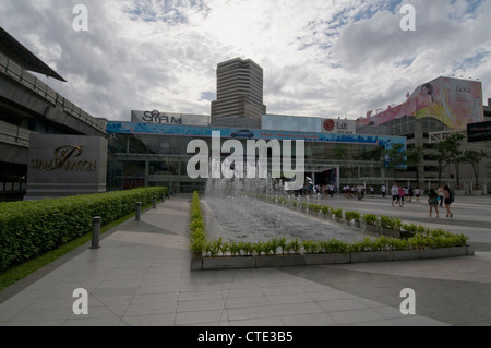 Siam Paragon square (The Pride of Bangkok) and water fountain in Bangkok's modern shopping district, Thailand - Stock Photo