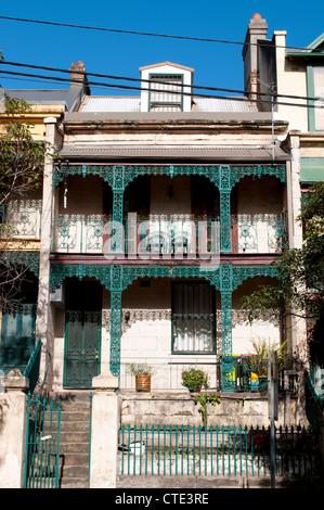 Terraced house with wrought iron balconies in Liverpool Street, Darlighurst, Sydney, Australia - Stock Photo