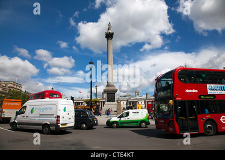 Trafalgar Square Traffic - London UK - Stock Photo