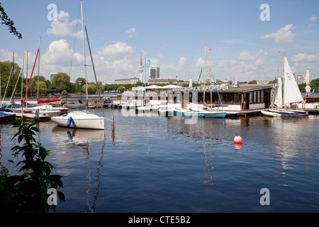 sailing school Captain Pieper at the lake Außenalster (outer Alster), Free and Hanseatic City of Hamburg, Germany - Stock Photo