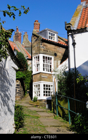 Cottages in Robin Hood's Bay, North Yorkshire - Stock Photo