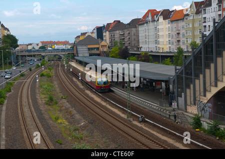 Messe Nord S-bahn metro station Charlottenburg-Wilmersdorf district Berlin Germany Europe - Stock Photo