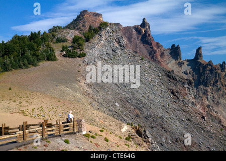 Scenic overlook at Crater Lake National Park located in southern Oregon, USA. - Stock Photo