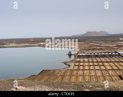 Overview of the salt production works in Janubio Lanzarote  retrieving salt from sea-water - Stock Photo