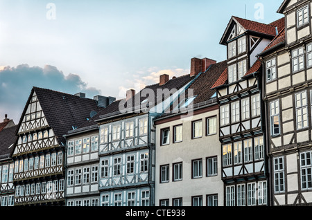 Fronts of typical half-timbered houses in the old town of Hannover, Germany - Stock Photo