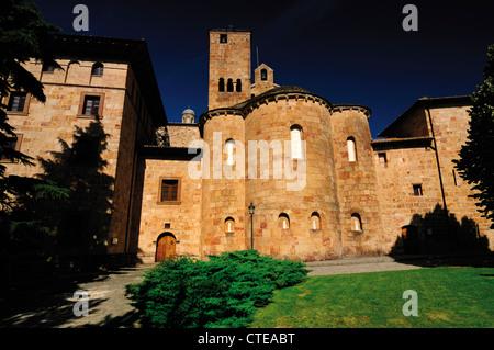 Spain, Aragon: External view of the romanesque monastery San Salvador de Leyre - Stock Photo