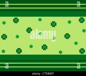 Green good luck clovers and stripes pattern - Stock Photo