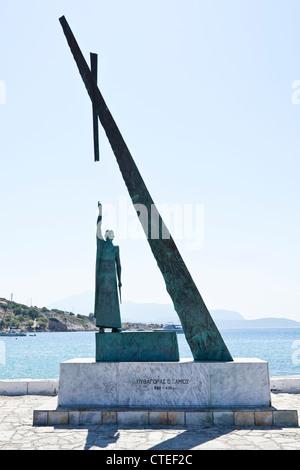 Statue of Pythagoras at Pythagorio, Samos, Greece - Stock Photo