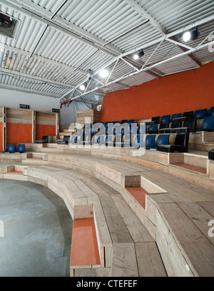 The Yard Theatre, London, United Kingdom. Architect: Practice Architecture, 2011. View from right side of stage. - Stock Photo