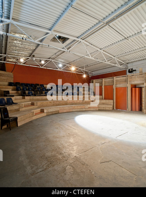 The Yard Theatre, London, United Kingdom. Architect: Practice Architecture, 2011. View from left side of stage. - Stock Photo