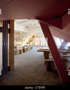 The Yard Theatre, London, United Kingdom. Architect: Practice Architecture, 2011. View towards bar. - Stock Photo
