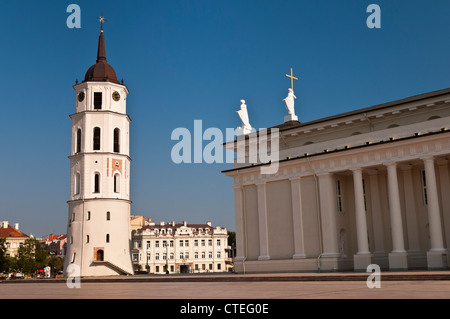 Cathedral Square and Belfry Vilnius Lithuania - Stock Photo
