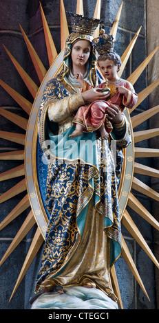 GENT - JUNE 23: Virgin Mary statue from Saint Jacob church on June 23, 2012 in Gent, Belgium. - Stock Photo