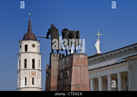 Grand Duke Gediminas Statue and Cathedral Belfry Cathedral Square Vilnius Lithuania - Stock Photo
