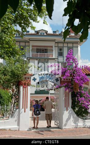 ISTANBUL, TURKEY. Entrance to the Merit Halki Palas Hotel on Heybeliada, one of the Princes' Islands in the Sea - Stock Photo