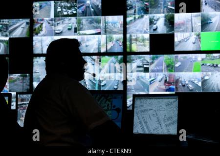 CCTV control room for Birmingham City Centre. - Stock Photo