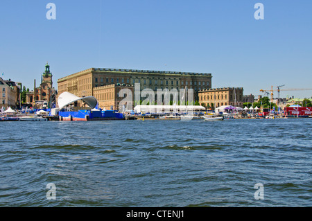 The Royal Palace,Volvo Penta round the World Yacht Race,Yachts, Exhibition, Stockholm,Sweden,Scandinavia - Stock Photo