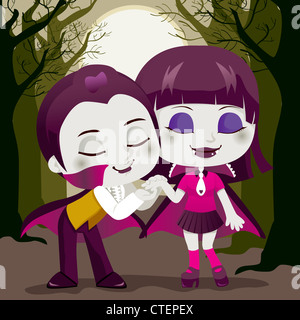 Little Count Dracula kissing his vampire girlfriend hand enjoying a lovely Halloween or Valentine night on a dead - Stock Photo