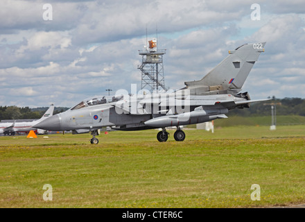 Farnborough International Airshow RAF Tornado GR4 variable-sweep wing combat aircraft landing - Stock Photo