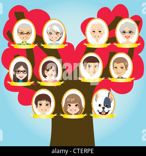 Big family three generations tree from grandparents to grandchildren and pet - Stock Photo