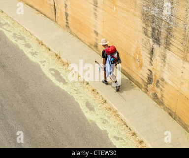 Pilgrim walking section of Camino de Santiago in Palencia province, Castilla-Leon, Spain, Europe - Stock Photo