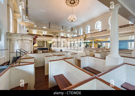 Interior of historic Old South Meeting House Museum, where 'Boston Tea Party', was planned, Washington St, Boston, - Stock Photo