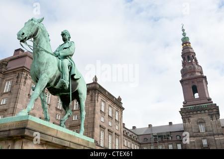 King Christian IX Monument in Christiansborg Palace in Copenhagen - Stock Photo