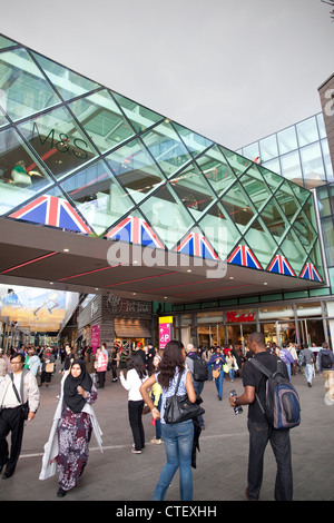 Entrance to a busy Westfield Shopping Centre, Stratford, East London, UK - Stock Photo