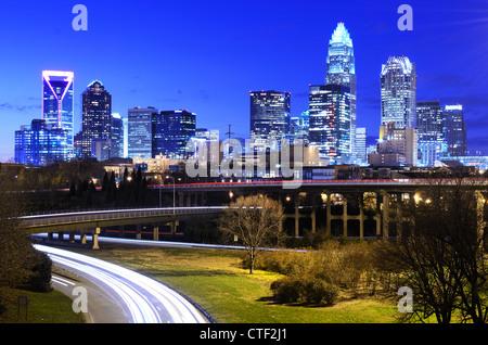 Downtown Charlotte, North Carolina, USA skyline - Stock Photo