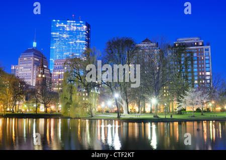Back Bay skyline from Boston Public Garden in Boston, Massachusetts, USA.