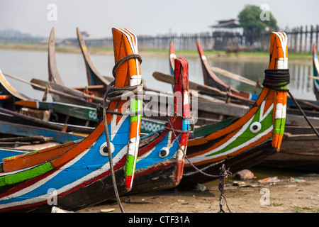 Row of boat taxis at Amarapura, Myanmar - Stock Photo