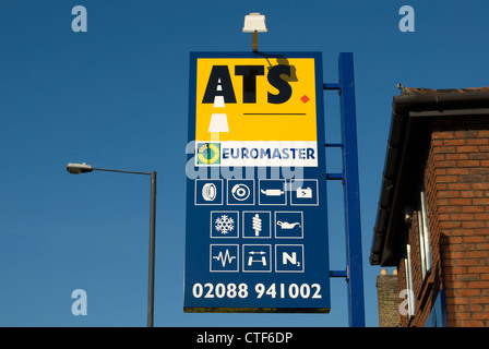 ats euromaster sign at a branch of the car tyre specialists in twickenham, middlesex, england - Stock Photo