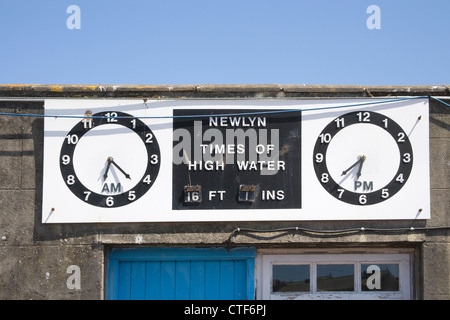 the large fishing harbour of Newlyn on the south cornish coast - Stock Photo